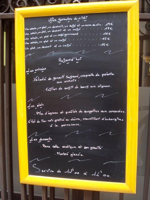 Chalkboard menu in France