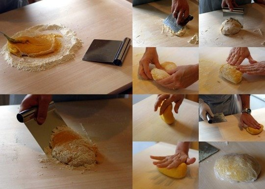Kneading the pasta dough