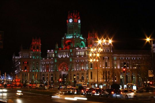 Palace plaza de Cibeles Madrid Christmas lights