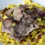 Homemade pasta with white truffles