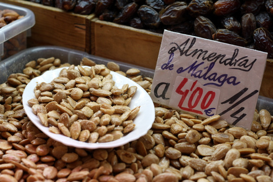 Malaga almonds Mercado central de Atarazanas on a Malaga food tour with Devour Malaga!