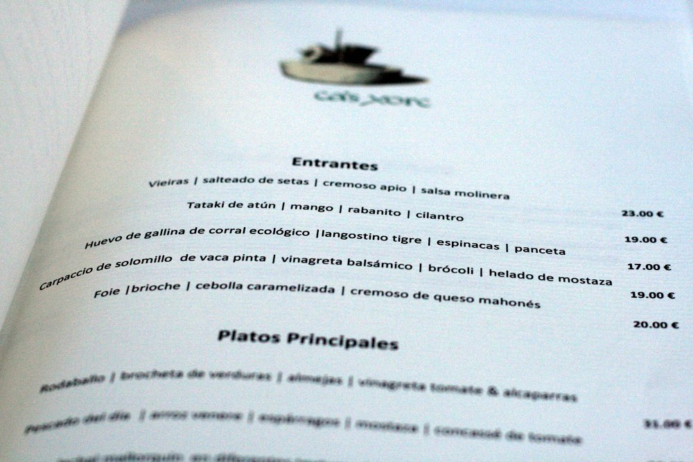 Spanish menu guide