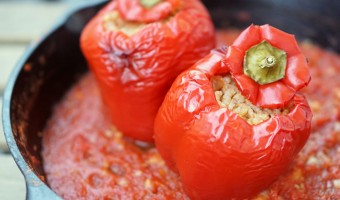 Easy Vegetarian Spanish Stuffed Peppers with Rice and Cheese