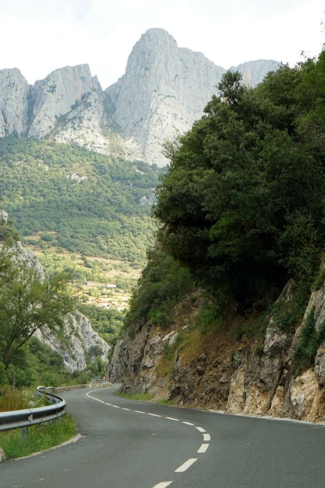 Driving through the Picos de Europa on a road trip through Asturias.