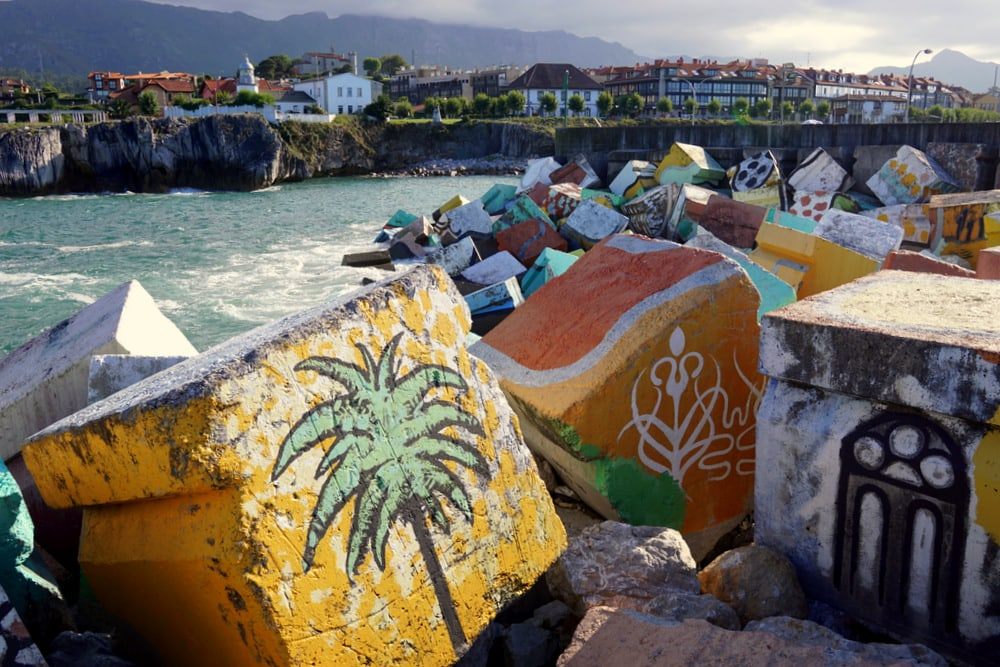 The famous painted rocks in Llanes, Asturias.