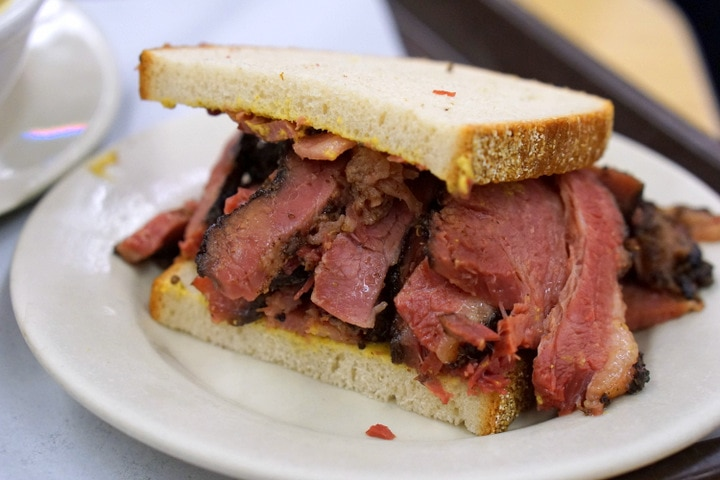 Katz deli's famous pastrami sandwich