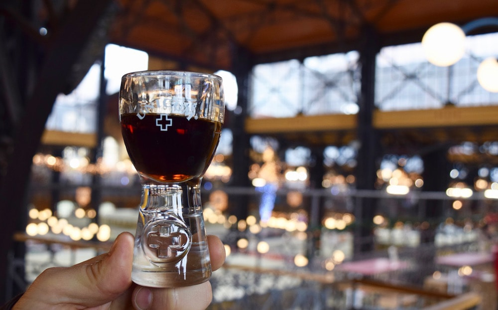Tasting Unicom, traditional Hungarian liqueur on a Budapest food tour