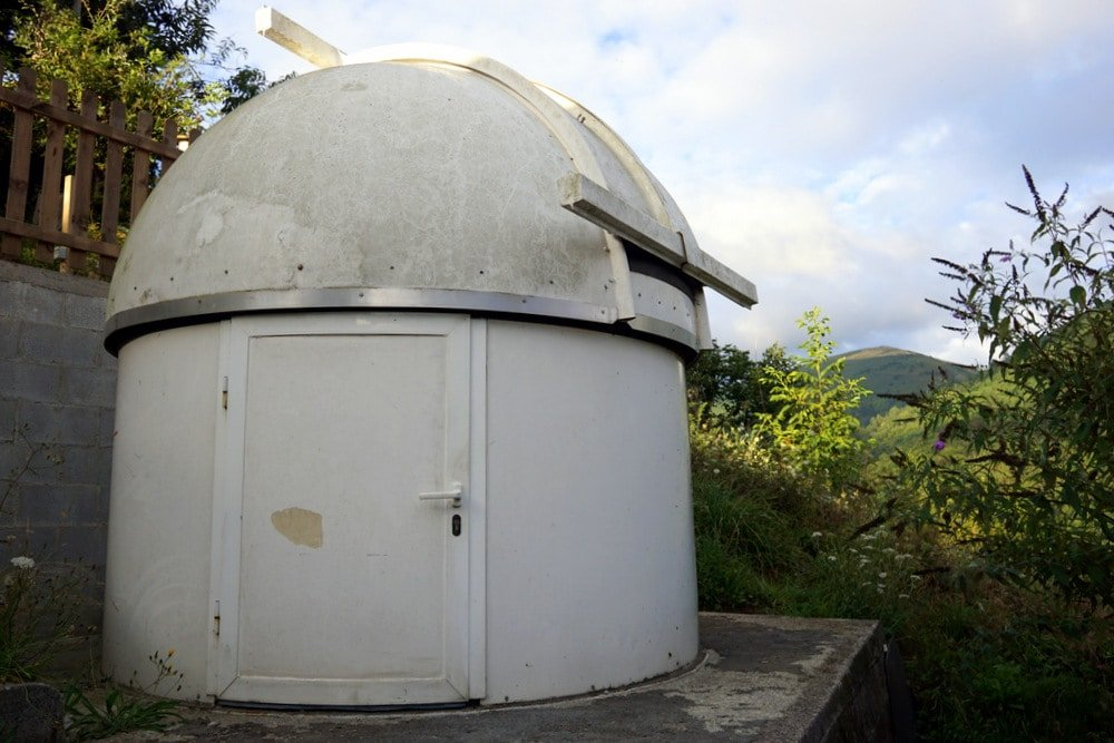 This giant telescope is part of staying in Munas de Arriba at a rural hotel in Asturias, Spain.