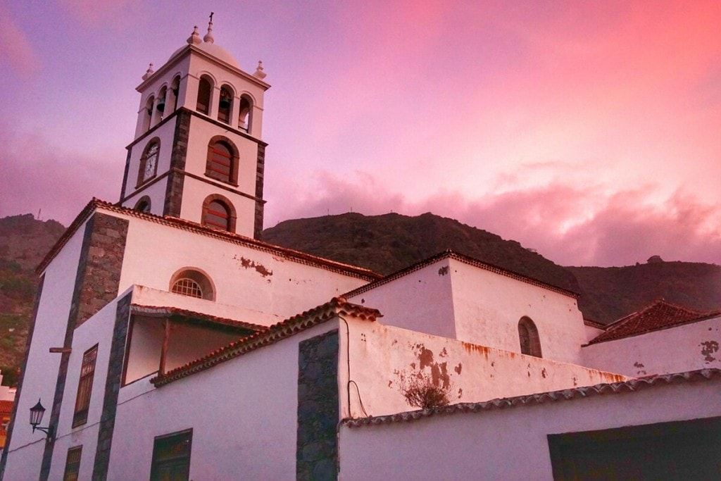 The gorgeous Garachico church at sunset.