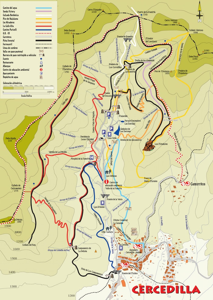 Cercedilla hiking trails map