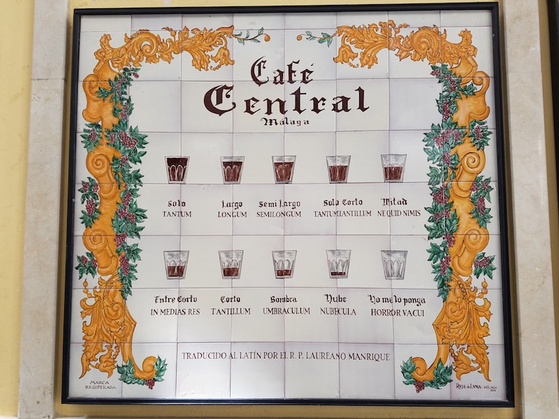 The many coffees in Café Central.