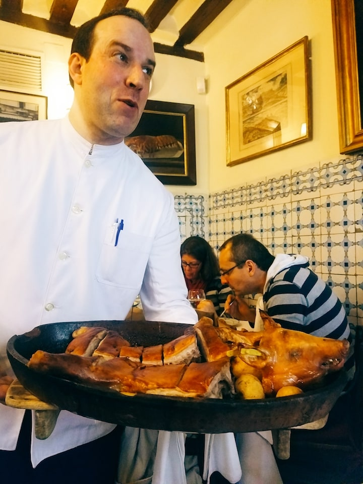 Suckling pig at Botin on a Devour Madrid tour!
