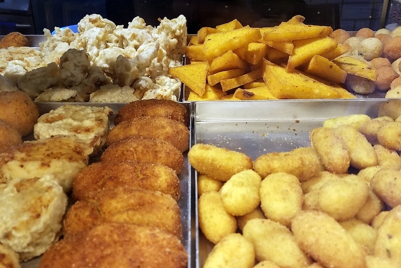 A selection of fried foods in Naples.