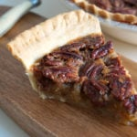 A delicious slice of pecan pie, spiked wth nutty oloroso sherry! The best pecan pie recipe I've tried.