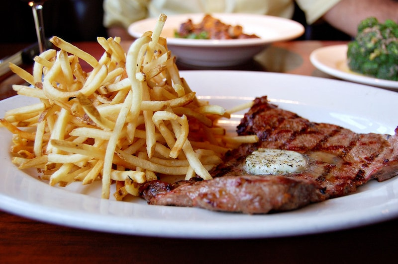 Delicious steak frites in Paris.