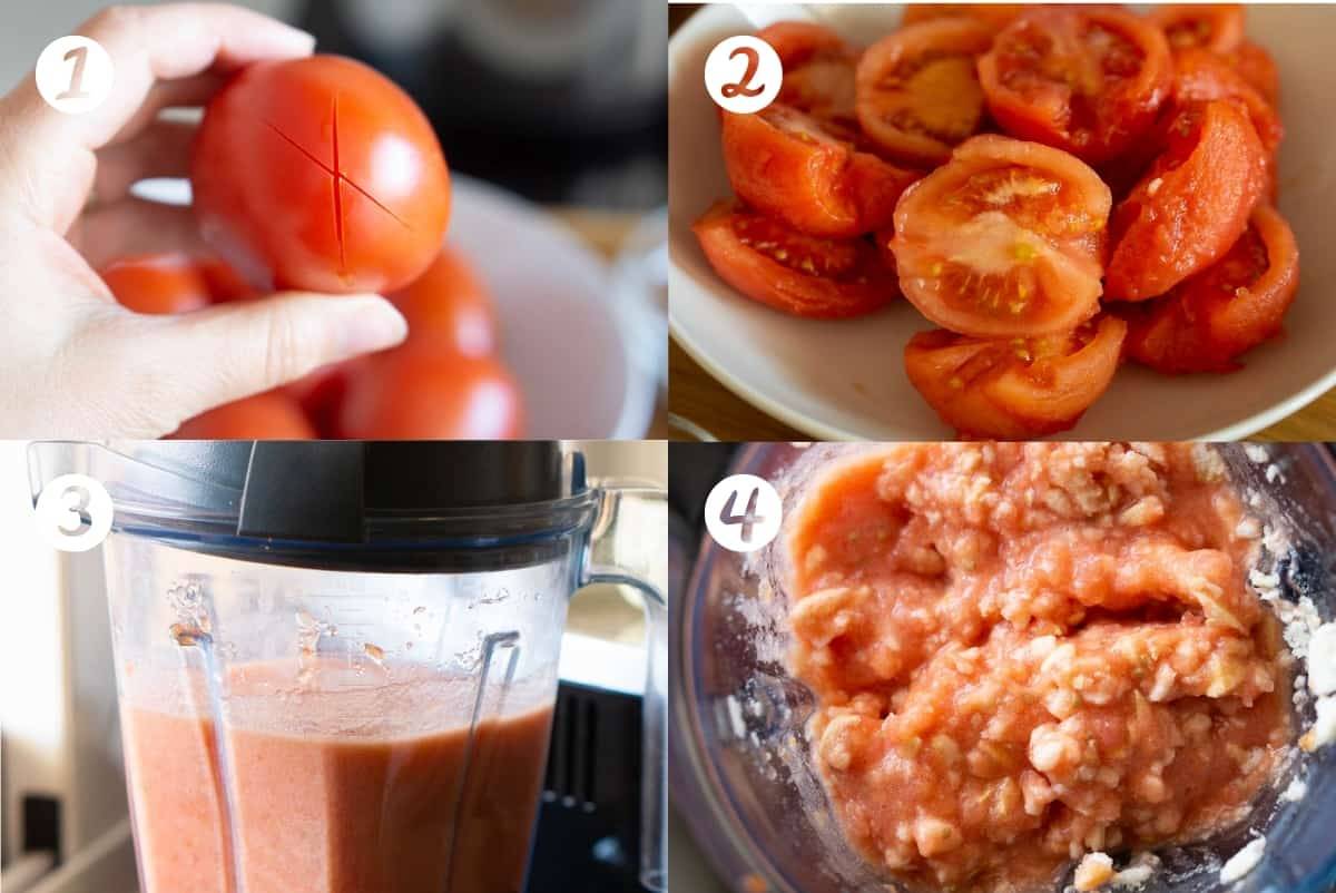 Steps 1-4 for making Spanish salmorejo soup in a grid. Peeling and blending the tomatoes.