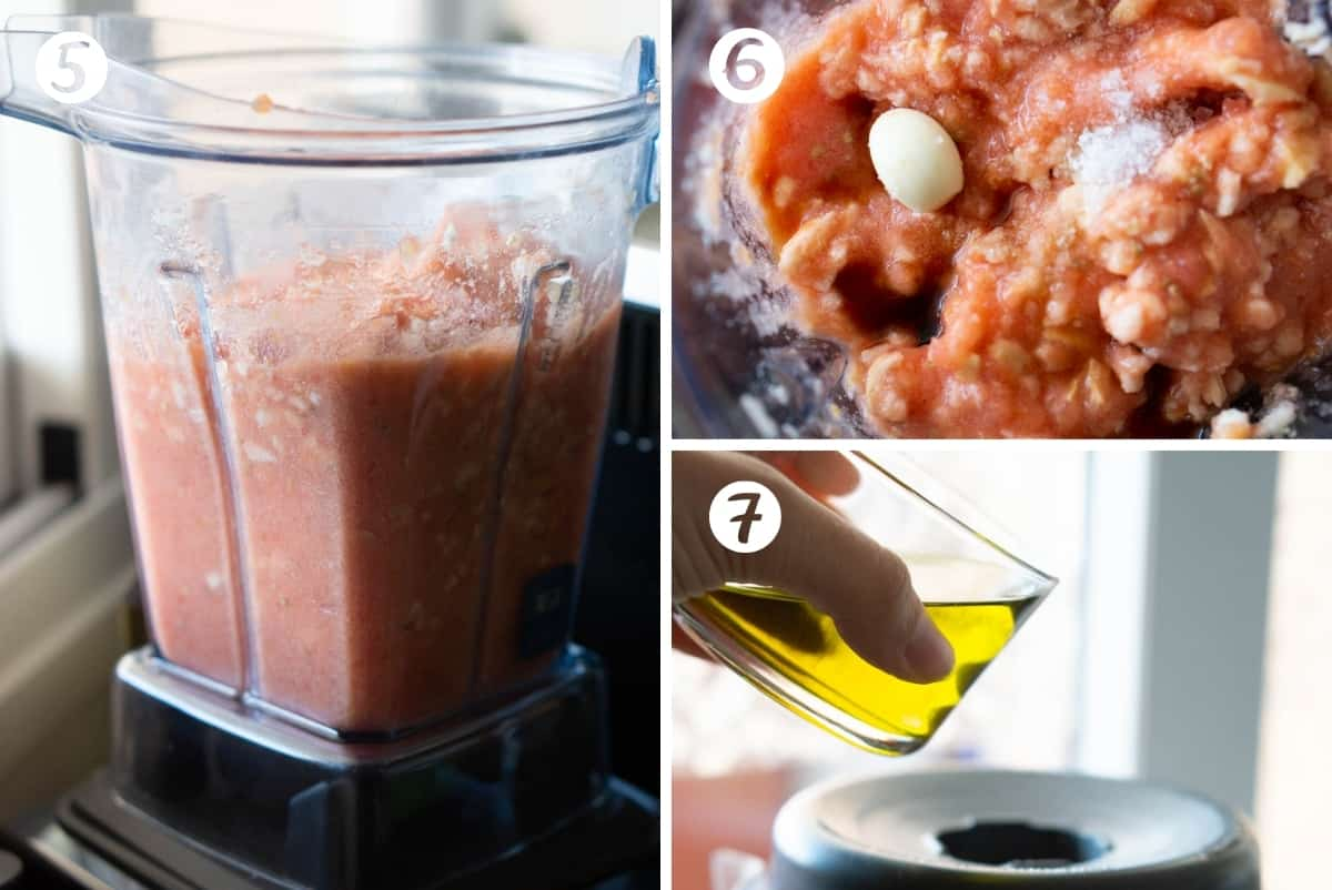 Steps 5-7 of making homemade salmorejo in a grid. Blending the tomatoes and bread and adding the olive oil.