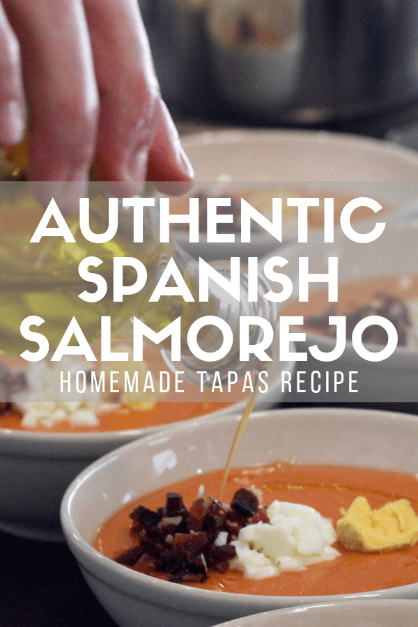 Need a traditional, authentic, and easy recipe straight from southern Spain to bring to your next tapas party? Here's how to make salmorejo—a simple, delicious chilled tomato soup similar to gazpacho. Loadad with veggies and Spanish extra-virgin olive oil, it's one of those dishes that you can make again and again and not get tired of eating! #salmorejo #tapas