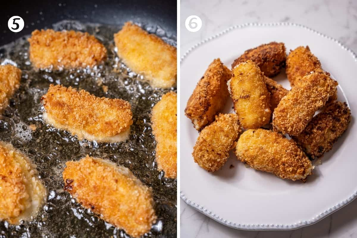 Deep frying ham croquettes (photo 1) and a white plate filled with fried croquettes (photo 2)