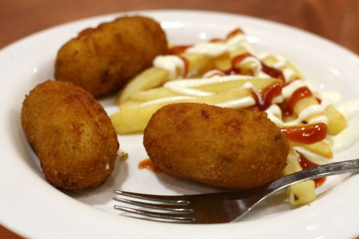 Free tapas in Madrid often include classic ham croquettes.
