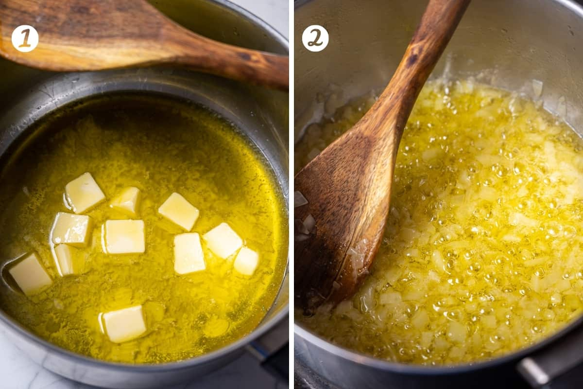 Two photos of steps for making ham croquettes. Step 1 melt butter and heat olive oil. Step two sautee diced onion.