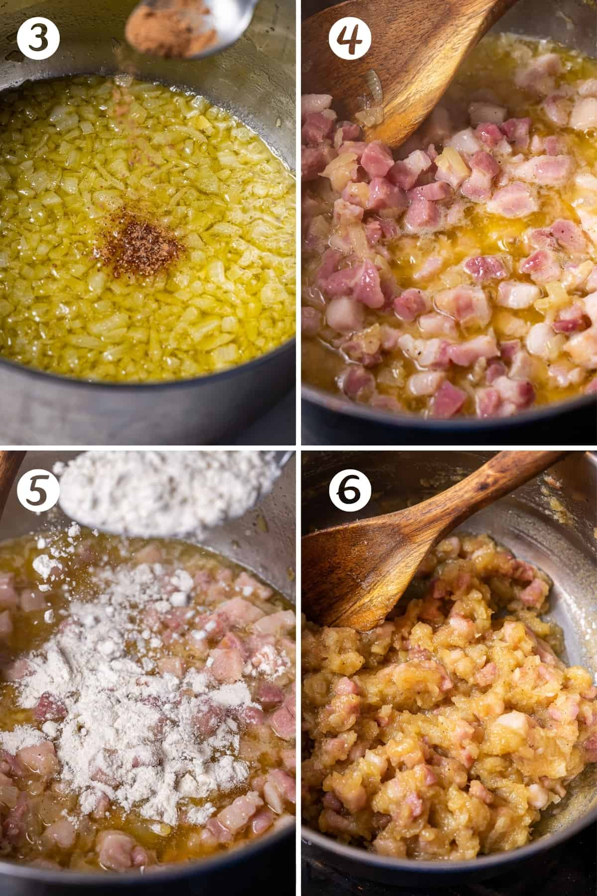 Steps 3-6 for making ham croquettes in a grid. Adding nutmeg to onions, adding Serrano ham, adding flour, and sauteeing.
