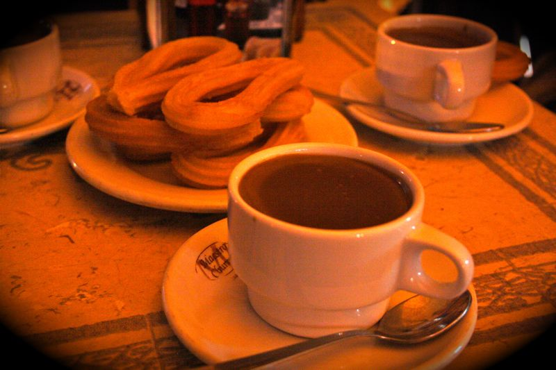 chocolate and churros in Madrid