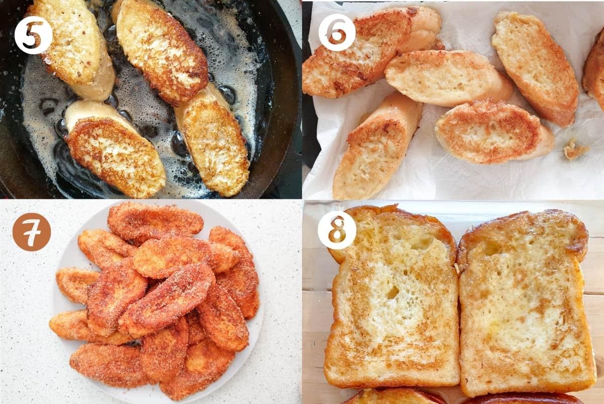 Torrijas recipe step by step tutorial steps 5-8 in a grid.