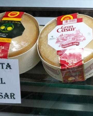 One of the most fun types of Spanish cheeses is Torta del Casar, a spreadable cheese that is eaten from the top down!