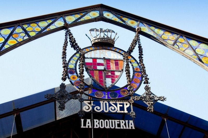 The entrance to La Boqueria Market in Barcelona