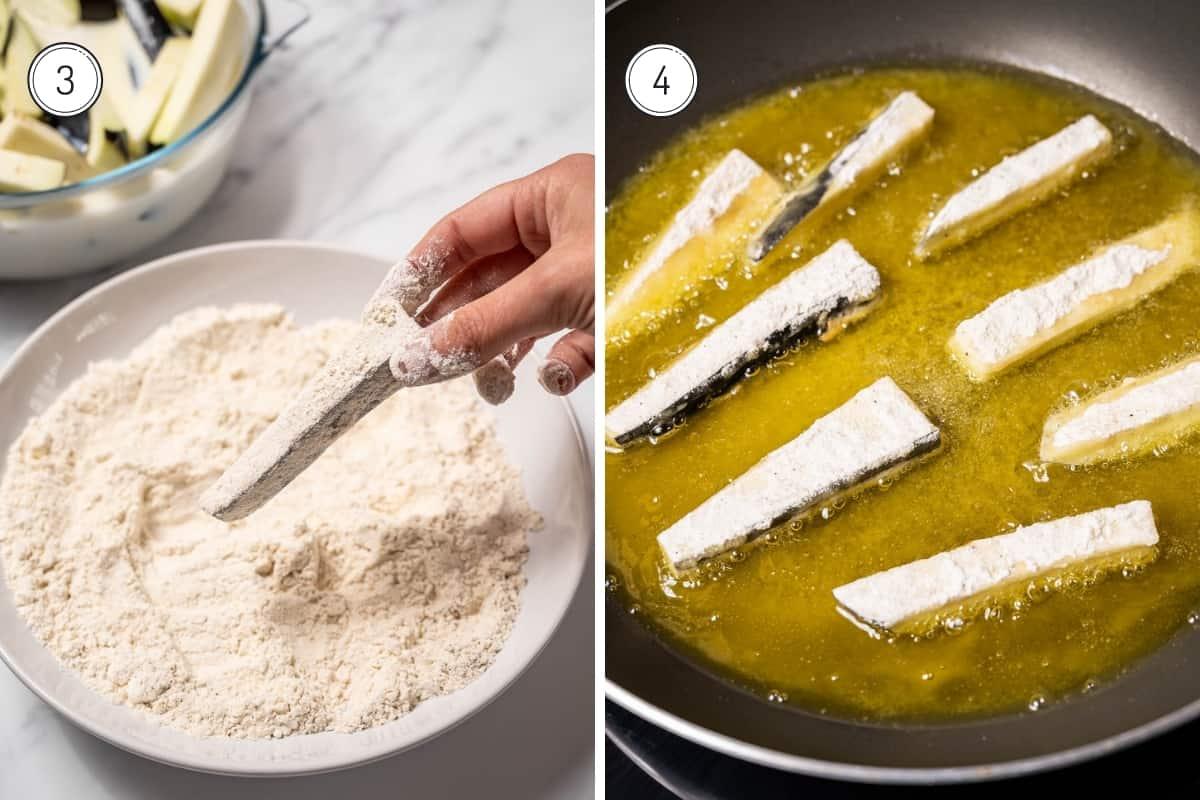 Fried eggplant with honey recipe steps 3-4
