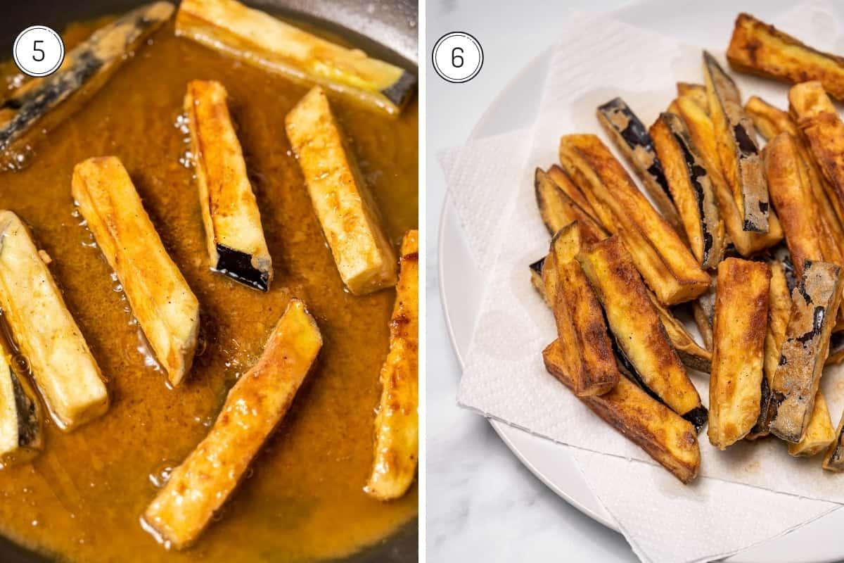 Fried eggplant with honey recipe steps 5-6