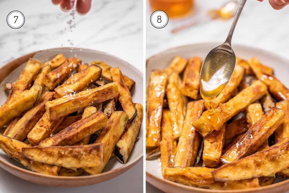 Fried eggplant with honey recipe steps 7-8