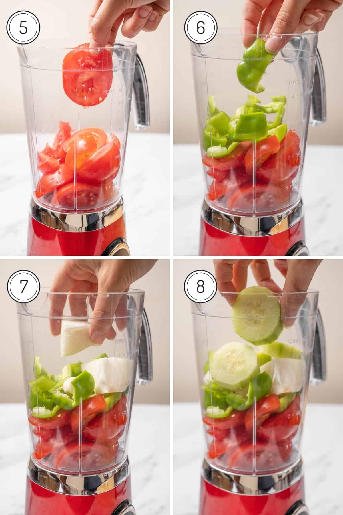 Steps 5-8 of authentic gazpacho recipe in a grid. Adding diced veggies to a blender.