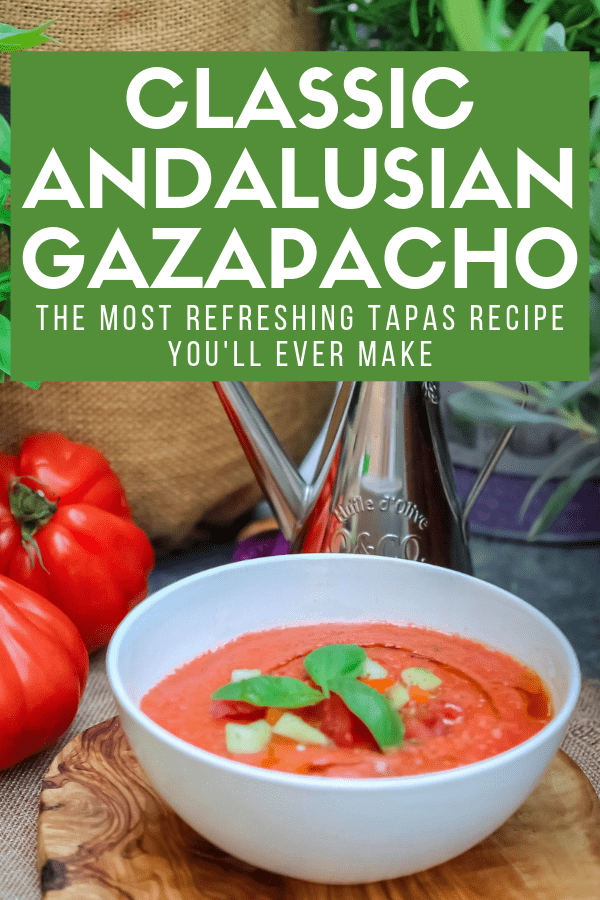 If you don't know how to make authentic gazpacho, you've come to the right place. This simple, traditional chilled soup is incredibly healthy—it's packed with veggies, after all!—and super easy to make. No wonder it's one of the most popular tapas in southern Spain on a hot day! #tapas #vegetarian