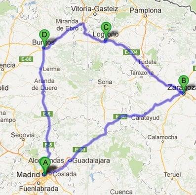 Madrid Road trip Map
