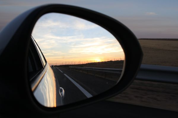 View in the side mirror