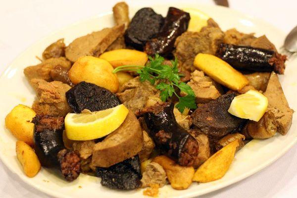 Plate of organ meat.