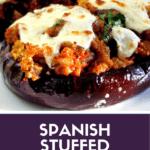 Spanish stuffed eggplant Pinterest image