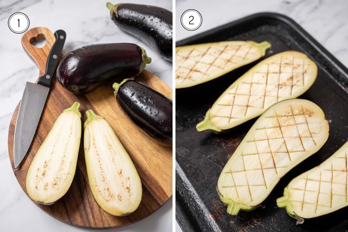 Steps 1-2 of Spanish stuffed eggplant in a grid.