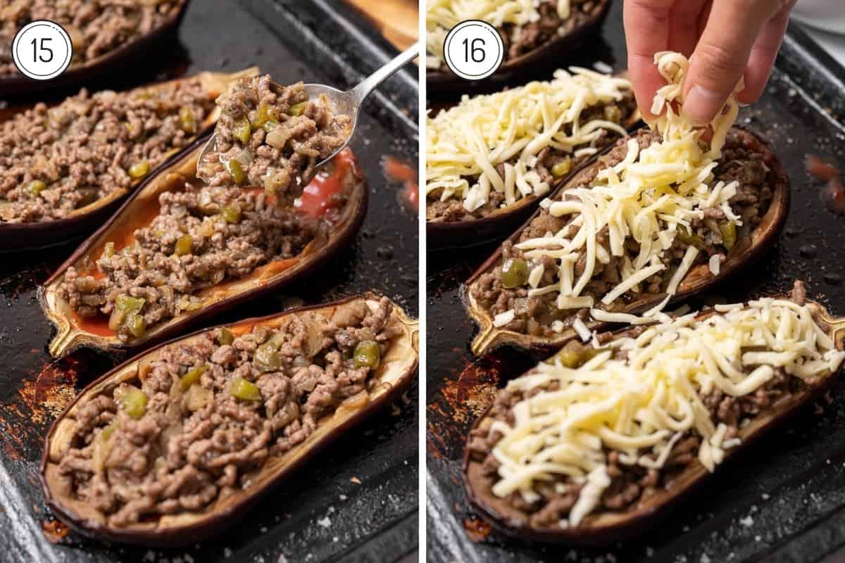 steps 15-16 Spanish stuffed eggplant in a grid