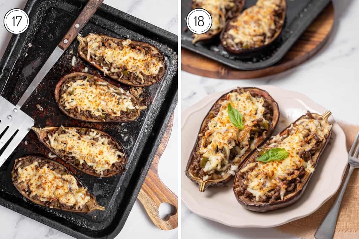 steps 17-18 Spanish stuffed eggplant in a grid