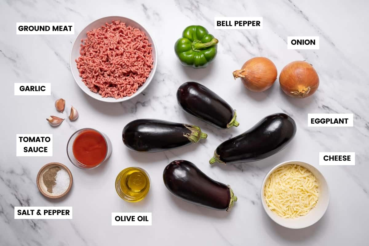 Spanish stuffed eggplant ingredients on a marble countertop.