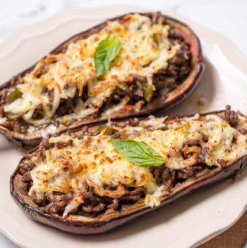 Spanish stuffed eggplant on a dish