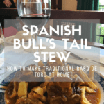 Rabo de toro recipe pin with text overlay that reads Spanish Bull's Tail Stew
