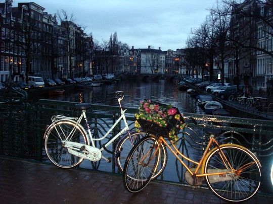 Amsterdam Bikes on a Bridge