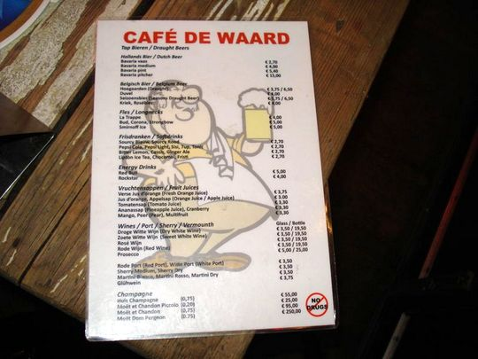 Amsterdam Menu with No Drugs warning