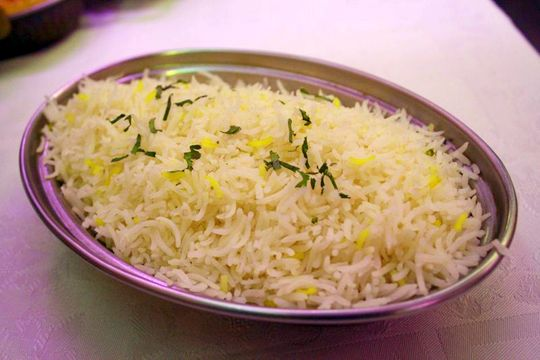Rice at Currys Indian Restaurant Madrid