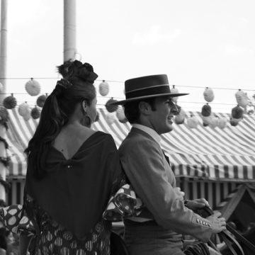 A couple on a horse at the Seville April Fair