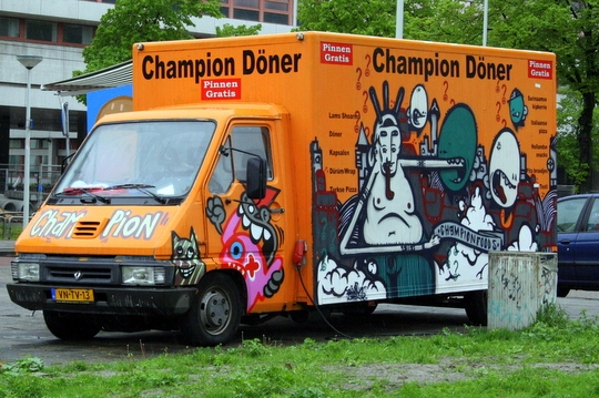 A food truck in Rotterdam selling Kapsalon.